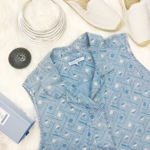 Chambray Sleeveless Geo Shirt Dress
